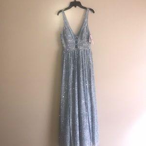A glittery Sky blue prom dress